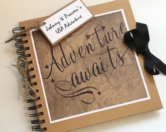 Personalised Adventure Awaits Scrapbook Photo Album Our Adventure Book  Hand Made Holiday Travel Memories Book