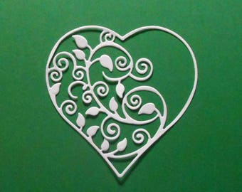 "White Intricate Flourish Heart Die Cuts - 3 1/8"" X 3 1/8"" White Cardstock Paper Hearts, Embellishments, Scrapbooking, Card Making 4 pc"