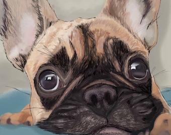 French Bulldog Original Digital Painting, Realistic