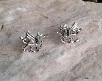 Dragon Earrings, Solid Sterling Silver Dragon Stud Earrings, Stud Earrings, Dragon Jewelry