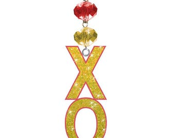 XO Logo Bling - Chi Omega Sorority - Magnetic Ornament Xo Decor/Xo Ornament/Chi Omega Dorm Room Decor