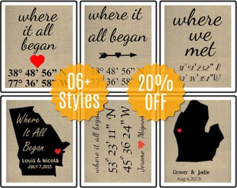 Where It All Began, Unique Wedding Gift, Valentines Sign,  Latitude Longitude GPS Coordinates, Engagement gift for friend,Wedding Gift Ideas