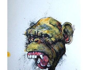 Original Ink Painting Ape