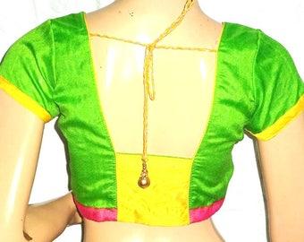 Multi Color Front Hooks Dupion Silk Saree Blouse