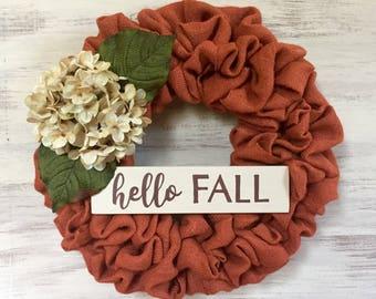 Fall Burlap Wreath, Hydrangea Wreath, Burlap and Hydrangea Wreath, Hello Fall Wreath, Realtor Gift, Closing Gift, Housewarming Gift
