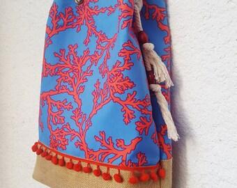 coral bag red coral item bag red blue shoulder bag coral pattern with pompoms handmade bag coral messenger travel bag
