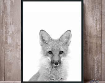 Fox Print, Black and White Fox, Animal Nursery Print, Fox Art, Woodland Fox, Fox Photo, Large Poster, Fox Nursery Decor,  Animal Wall Art