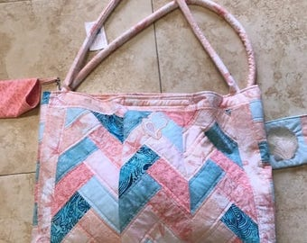 Beach bag with detachable cell phone cover and change purse