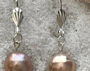 Custom made 10.8mm Lavender Chrome Edison Pearl Earrings on Lever backs