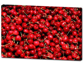 "Beautiful and Delicious Red Cherries Canvas Photography Print 20""x30"""