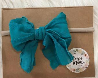 Teal nylon headband mini messy bow, ruffle bow, baby headband, newborn headband, newborn bow, skinny bow, skinny headband, nylon headband