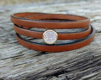 Leather wrap bracelet, brown leather druzy bracelet, druzy charm bracelet, women's leather bracelet, triple wrap bracelet, women's gift