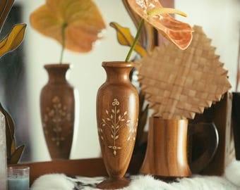 Vintage Wooden Embroidered Vase // Flower Vase // Vintage Vase