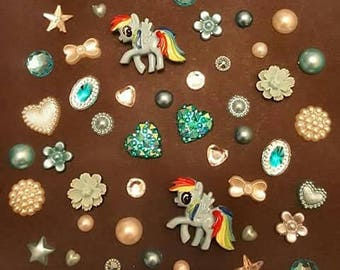 Set of my little pony themed gems and cabochans