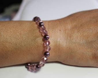 faux burgandy pearls with light burgandy glass crystals