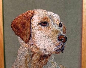 A hand-embroidered dog portrait - Labrador