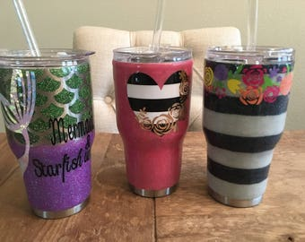 Glitter epoxy personalized vinyl stainless steel tumbler