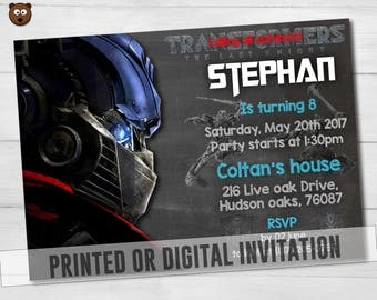 Transformers Printed Invitation, Transformers Invitation, Transformers Birthday,  Transformers Printable, Transformers   HBS 030