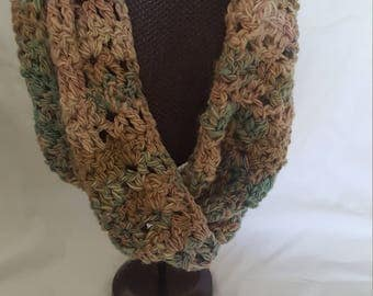 Crocheted pink brown and blue infinity scarf