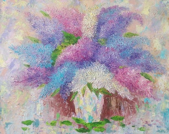 oil painting original, lilac oil painting, oil painting on canvas, oil painting flowers, flowers painting, oil painting for living room, art