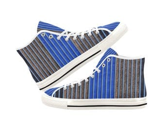 high top shoes, canvas shoes, printed shoes, personalized shoes, blue stripe, golden stripe