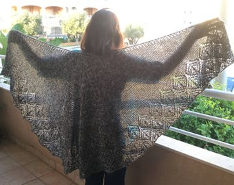 Cameo Flower Hand Knit Shawl / Evening Wrap