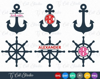 Anchor SVG Files, Anchors Split, Ship Wheel SVG cut files, Ship Wheel, Files for Silhouette Cameo or Cricut, Commercial & Personal Use.