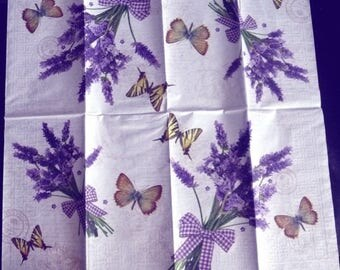 Bouquets of lavender and butterflies paper towel