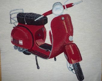 Weaving way red vespa jacquard tapestry Panel