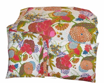 Indian handmade Kantha quilt With Shams bedspread bedsheet bedcover Pillow cover Cushion cover Vintage Queen size Floral Print quilt & Shams