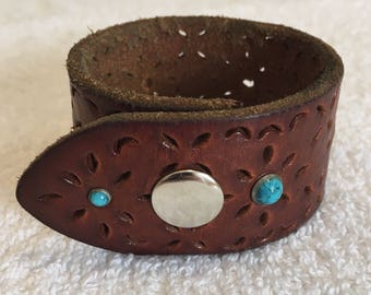 Leather Cuff Bracelet with Turquoise (Faux) Accents