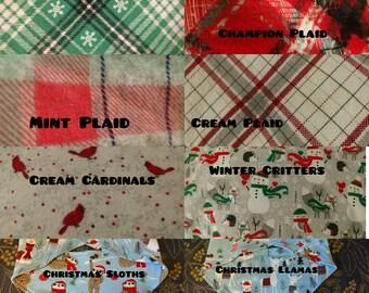 Soft/ Flannel XSmall Reversible Christmas Tie on Bandana