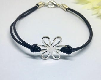 Flower themed leather bracelet with clasp, 2mm double leather bracelet, women's leather bracelet, girl's leather bracelet