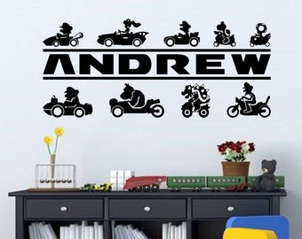 Mario Kart Personalized Vinyl Wall Decal for Gamers