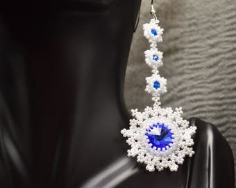 Swarovski Snowflake Earrings, Swarovski Earrings, Beaded Earrings, Handmade Earrings, Beadweaving, Boho, Bohemian, Miyuki, Dangle Earrings