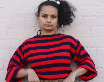 90s Striped Crop Knitted Jumper Sweater