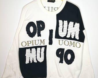 Rare!! OPIUM UOMO Sweatshirt Embroidered Logo Swagger Activewear Size XLARGE