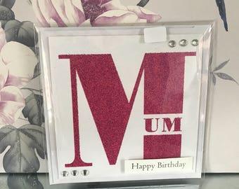 Handmade happy birthday mum card