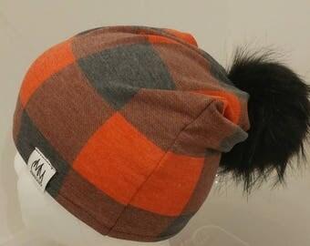 BUFFALO PLAID; red&black; plaid; beanie; toque; hat; winter hat; tuque
