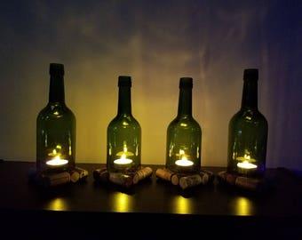 Hurricane lamp, Wine Bottle Candle Holders, Wine Bottle Lamp Set of 4