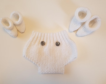 White Baby Diaper Nappy Cover Shorts and Booties