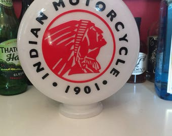 Automobilia gas pump globe, Indian Motor Cycles, reproduction glass globe
