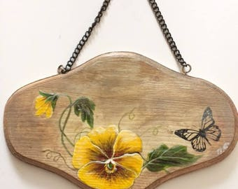 Pansy door plaque