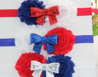 4th of July Headband RED WHITE and Blue Shabby Hairband. Independent Day Shabby Sequin Bow Headband.