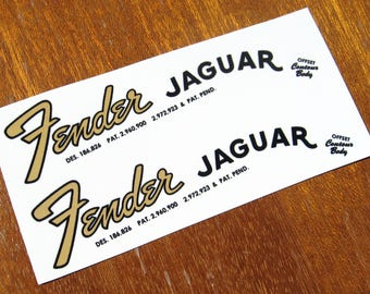 Fender Jaguar Headstock Decal Set Early-Mid 60's Waterslide Decals Vintage Guitar Parts