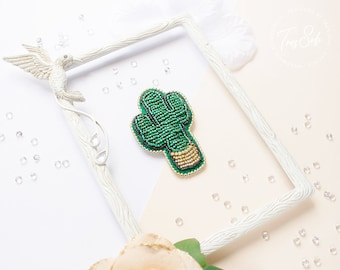 Cactus Brooch, Cactus, Beaded Brooch, Embroidered Brooch, Fashion Accessory, Summer, Gift for Women - READY TO SHIP