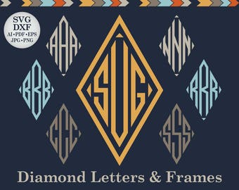 Diamond Font Svg Dxf Diamond Monogram Svg Diamond Monogram Font Svg Diamont Cut Letters Diamond Alphabet Svg Diamond Initials Svg DXF PNG