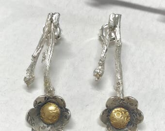 earrings of branch i flower, silver and gold 18kilates