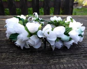 Handmade Hair Flower Wreath / Flower Crown (white)