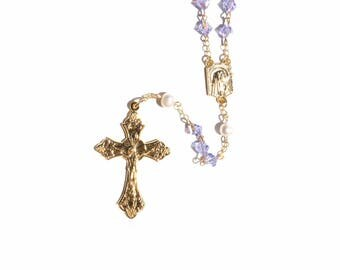 Alexandrite Violet - Gold Finish Rosary made with Alexandrite Violet Swarovski Crystal Elements and Cultured Freshwater Pearls (June)